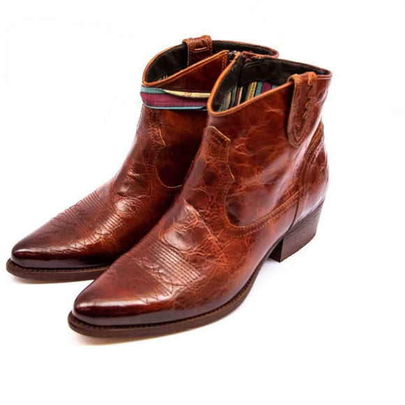 FELMINI Ladies Tan Crackle Leather Cowboy Ankle Boots