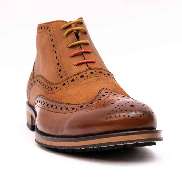 Justin Reece BRUNO Mens Tan Brogue Lace Up Boot