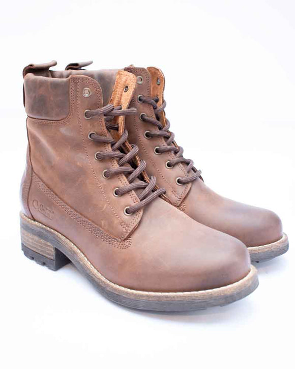 Oak & Hyde BRIDGE Brown Ladies Chunky Lace Up Boots