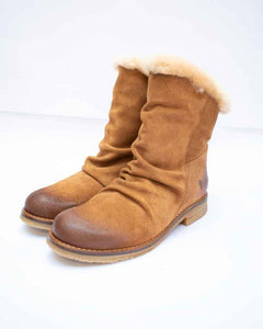 Felmini Ladies Tan Fur Lined Oiled Suede Boots