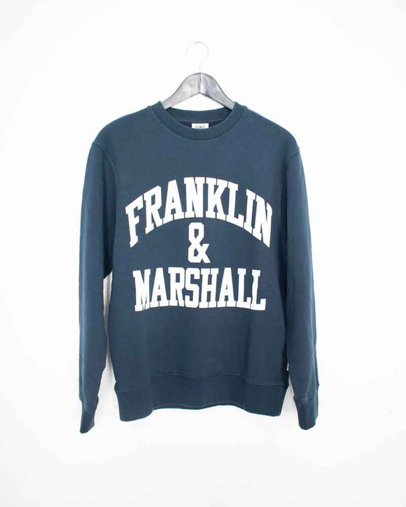 Franklin & Marshall Mens Navy Front Arc Logo Sweat Shirt