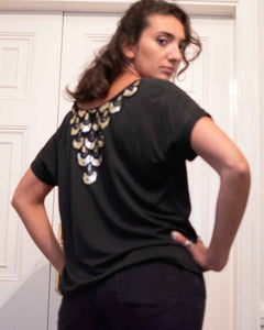 Traffic People Ladies Black Back Bling Tee Shirt