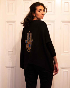 Traffic People HAMSA Ladies Sloppy Joe Embellished Back Jumper