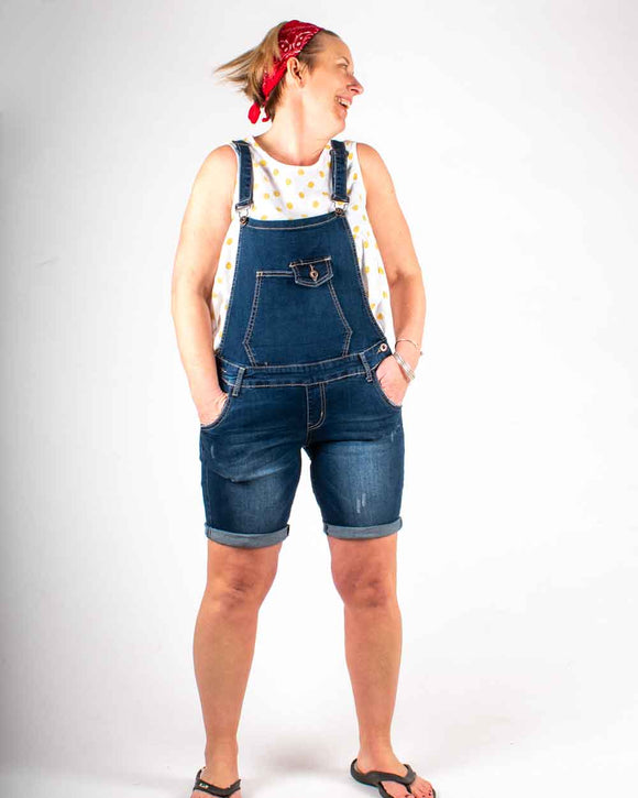Lottie&Moll Ladies Super Stretch Denim Dungaree Shorts Combo