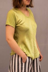 Lottie&Moll DENA Ladies Lime Silk Front Tee Shirt
