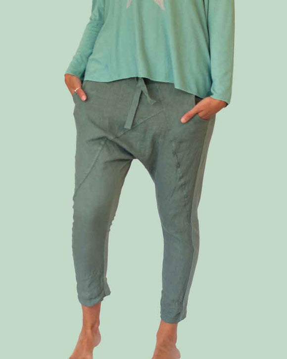 Lottie&Moll DOLLIE Ladies Teal Linen Front Trouser