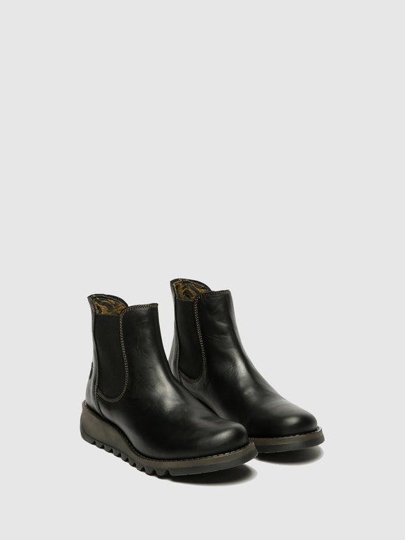 Fly London SALV Ladies Black Leather Chelsea Boots