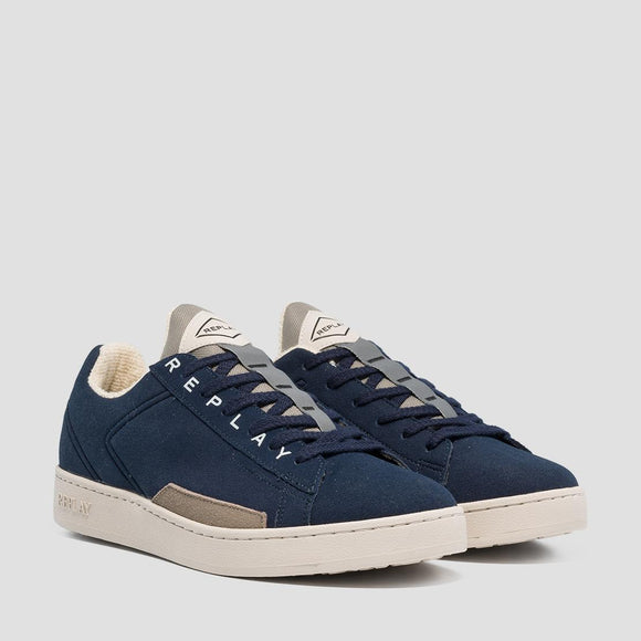 Replay IRON Mens Navy Nubuck Fat Sole Trainers.