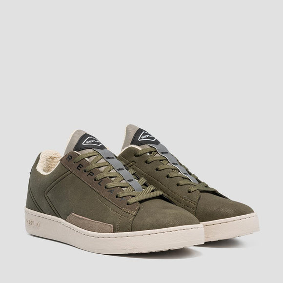 Replay IRON Mens Khaki Nubuck Fat Sole Trainers.