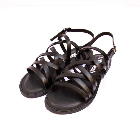 Refresh Ladies Multi Strap Black Leather Sandals