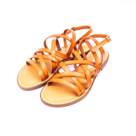 Refresh Ladies Multi Strap Tan Leather Sandals