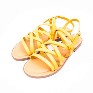 Refresh Ladies Multi Strap Yellow Leather Sandals