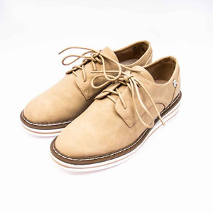 Refresh Ladies Chunky Sole Taupe Lace Up Shoes