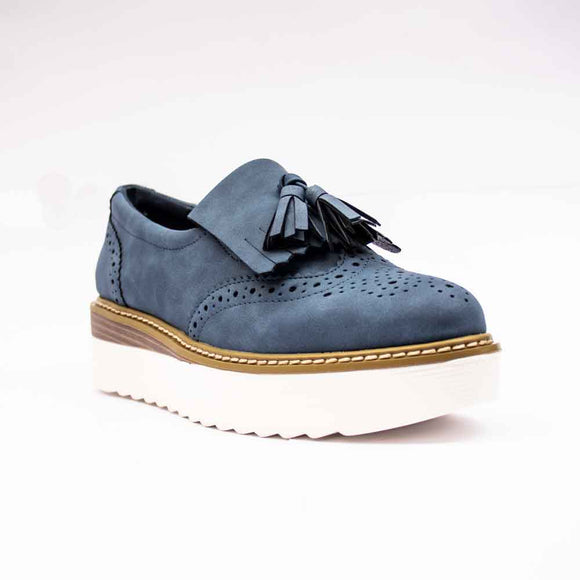 Refresh Ladies Chunky Sole Brogue Navy Shoes