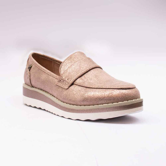 Refresh Ladies Chunky Sole Nude Glitter Loafers
