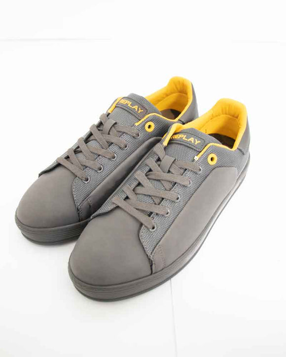 Replay WILLIAMSON Mens Yellow Branded Grey Nubuck Fat Sole Trainers.