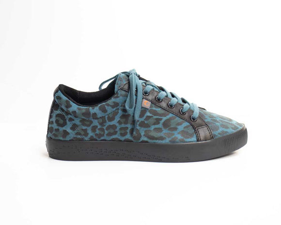 Softinos SURY Ladies Teal Leopard Print Shoes