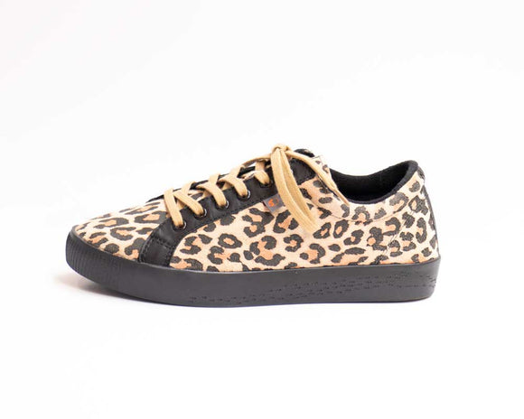 Softinos SURY Ladies Cream Leopard Print Shoes