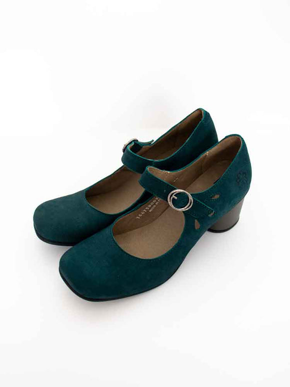 Fly London SLOE Ladies Teal Leather Mary-Jane Strap Front Shoes