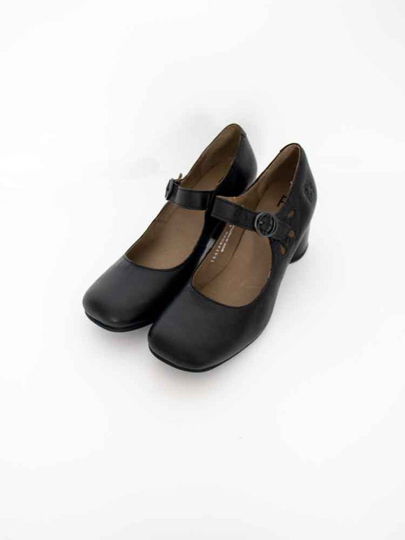 Fly London SLOE Ladies Black Leather Mary-Jane Strap Front Shoes