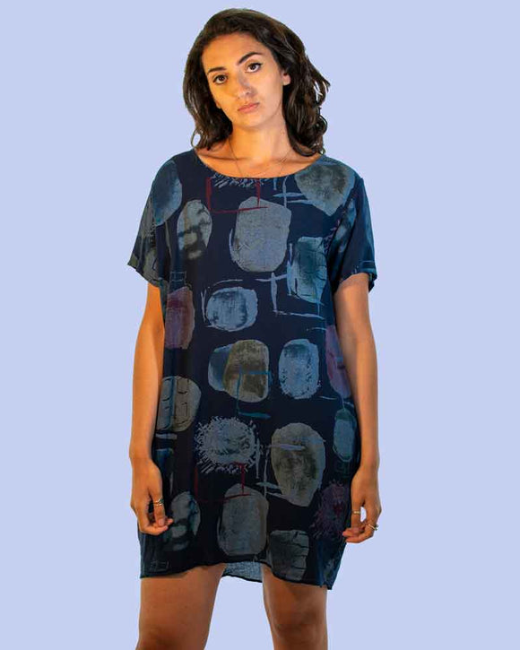 Lottie&Moll KARMEN Ladies Navy Abstract Print Tunic Dress