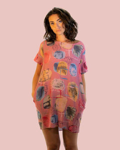 Lottie&Moll KARMEN Ladies Pink Abstract Print Tunic Dress
