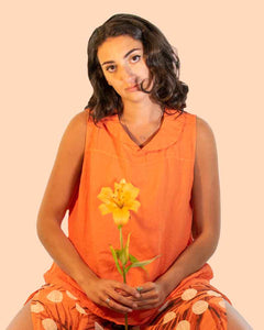 Lottie&Moll KASSIE Ladies Orange Linen Peter Pan Collar Top
