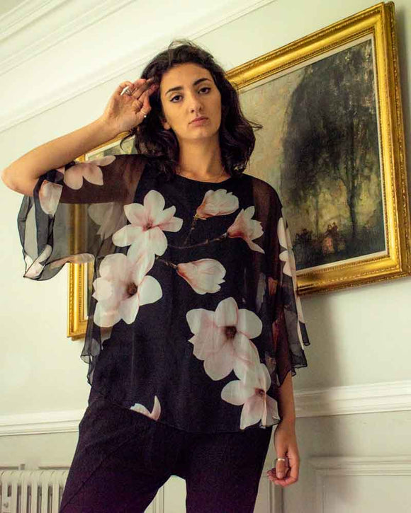 Lottie&Moll KELLY Ladies Black Floral Print Floaty Top