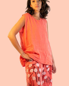 Lottie&Moll KATH Ladies Coral Linen Vest Top
