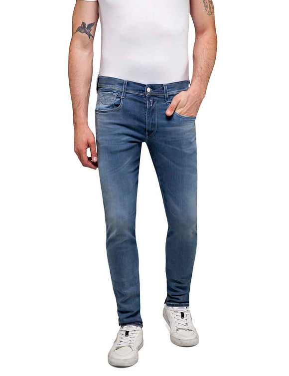 Replay ANBASS Bio Hyperflex Mens Mid Wash Blue Jeans