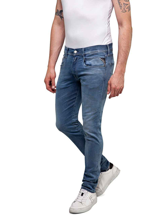Replay Mens ANBASS Hyperflex Clouds Mid Wash Blue Jeans
