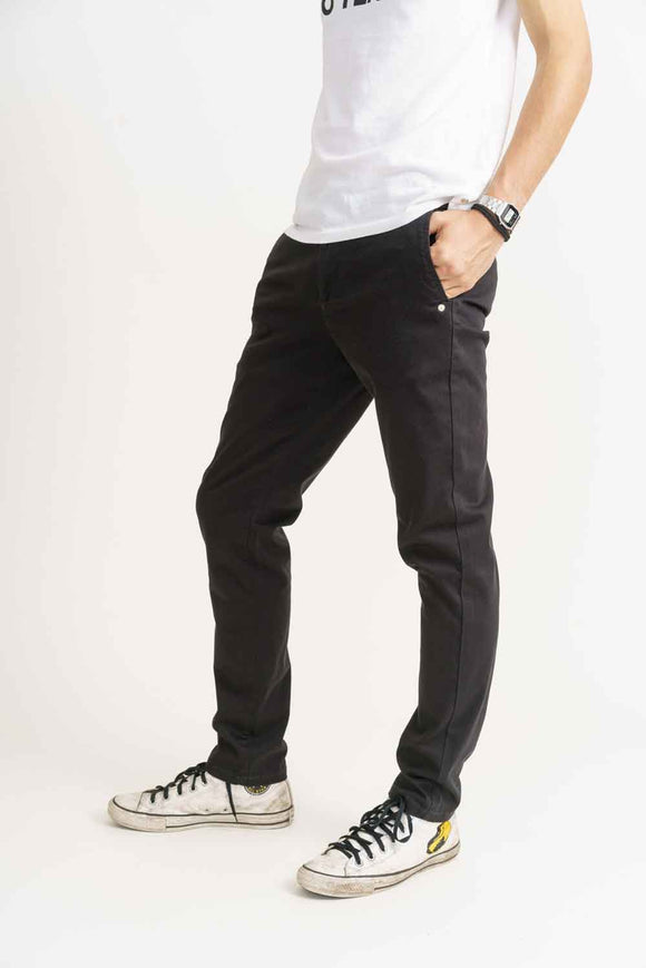 MONKEE JEANS Mens Super Soft Black Chino