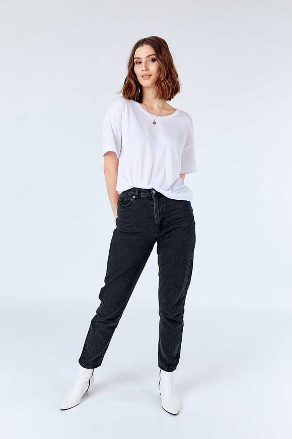 Dr Denim NORA Ladies Washed Black Mums Jeans