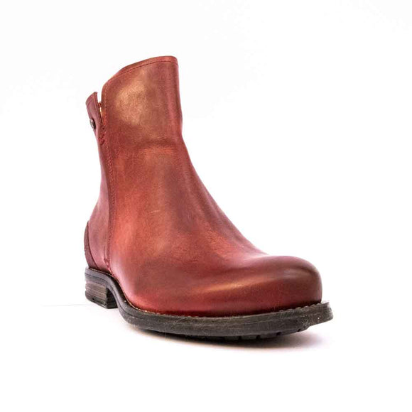 SHADY Sneaky Steve Ladies Red Rustic Leather Ankle Boot.