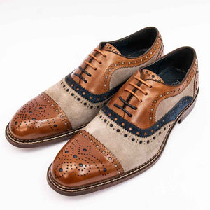 Justin Reece SMITH Mens Tan Multicolour Brogue