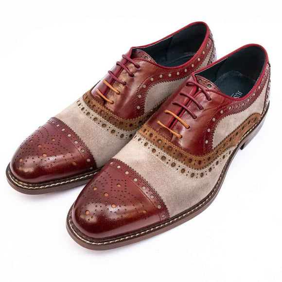 Justin Reece SMITH Mens Wine Multicolour Brogue