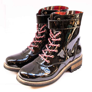 Oak & Hyde BRIDGE Ladies Black Jungle Patent Boots