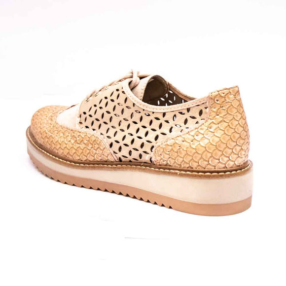 DAVINA Ruby Shoo Ladies Nude Lace Up Brogue Shoes