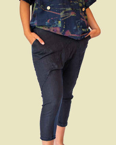 Lottie&Moll DOLLIE Ladies Navy Linen Front Trouser