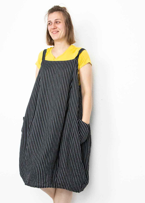 Lottie&Moll FIONA Ladies Black Linen Pinstripe Dungaree Dress