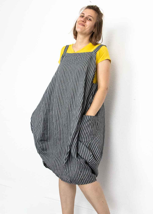Lottie&Moll FIONA Ladies Grey Linen Pinstripe Dungaree Dress
