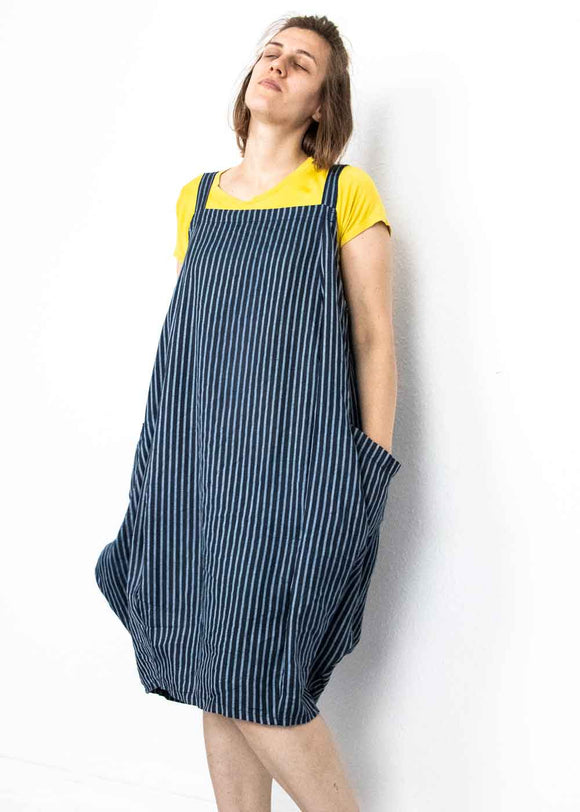 Lottie&Moll FIONA Ladies Navy Linen Pinstripe Dungaree Dress