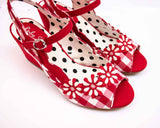 Ruby Shoo HERA Ladies Red Gingham Daisy Sandals
