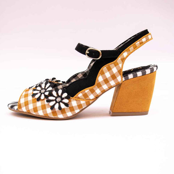 Ruby Shoo HERA Ladies Ochre Gingham Daisy Sandals
