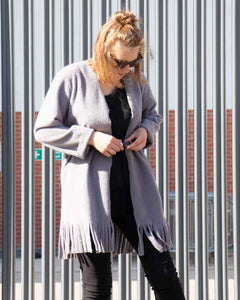 Lottie&Moll IMALIA Ladies Grey Belted Fringe Bottom Jacket