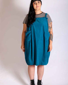 Lottie&Moll JACKIE Ladies Teal Baby Corduroy Pinafore Dress