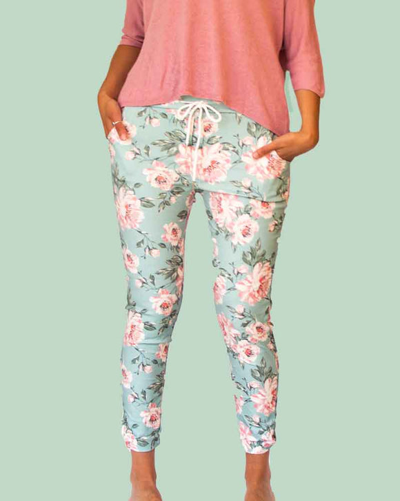Lottie&Moll KARI Ladies Teal Printed Stretch Casual Trousers