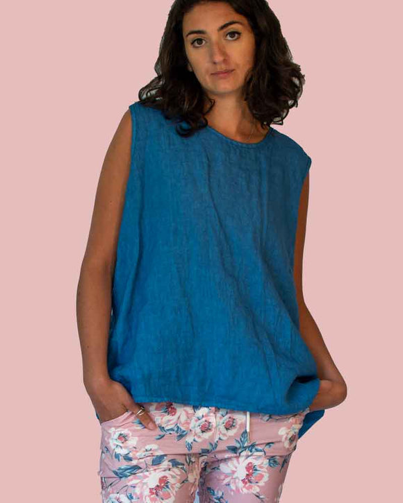 Lottie&Moll KATH Ladies Blue Linen Vest Top