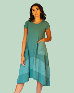 Lottie&Moll KERRIE Ladies Teal Jersey Big Pocket Dress