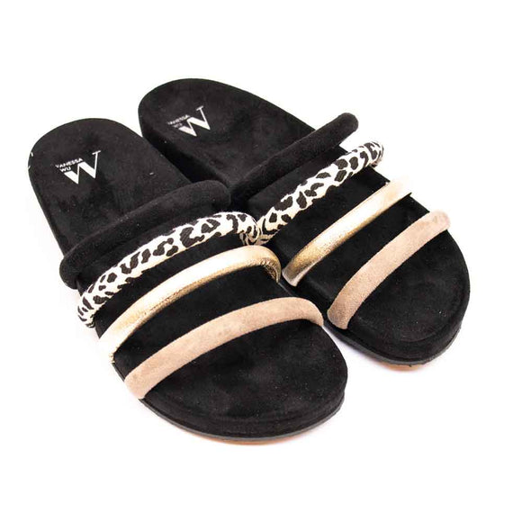 VANESSA WU Ladies Suedette Multi Strap Footbed Sandals